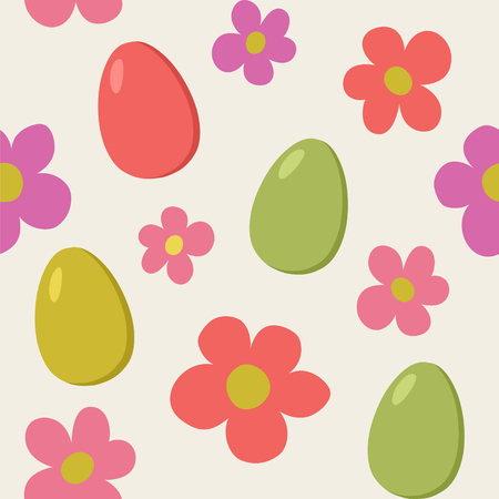 Seamless vector pattern with eggs and flowers in retro colors.