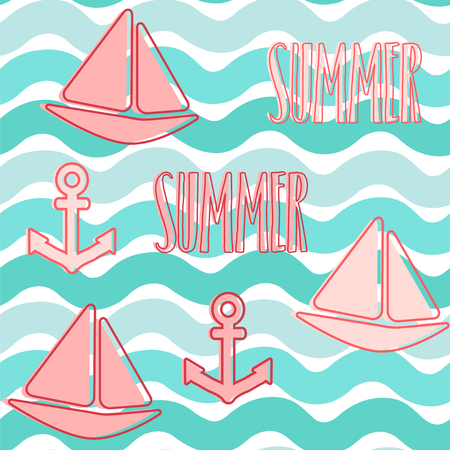 Summer background. Seamless vector pattern with sailboats, anchors and waves.