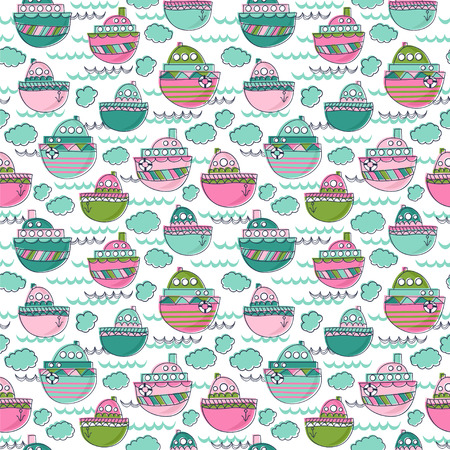 Seamless vector pattern in childish style. Background with boats, waves, clouds. Illustration