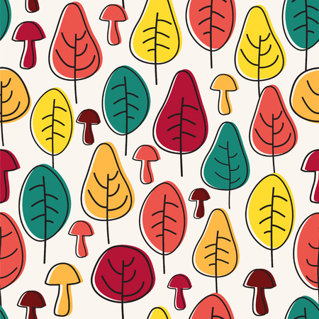 Seamless vector pattern with autumn trees and mushrooms.