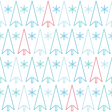 Trees with snowflakes. Seamless vector pattern. Illustration