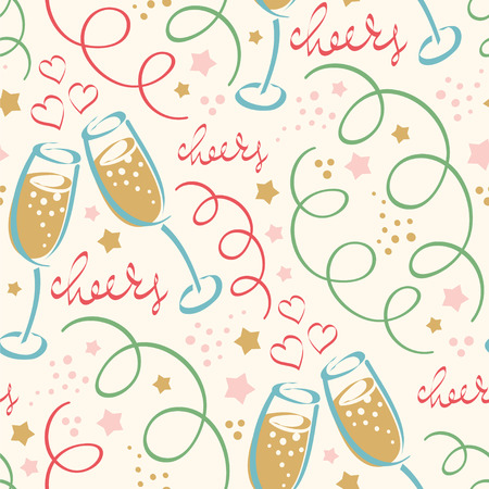 Happy New Year! Seamless vector pattern with fizz. Illustration