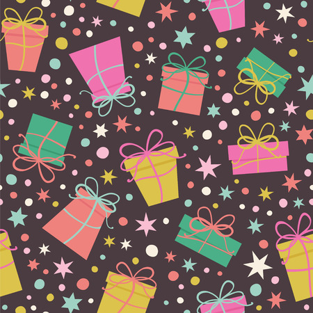 Seamless vector pattern with gifts, stars and confetti on the dark background.