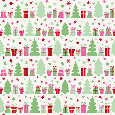 Modello vettoriale senza soluzione di continuità con scatole regalo, alberi e stelle. Sfondo di Natale.