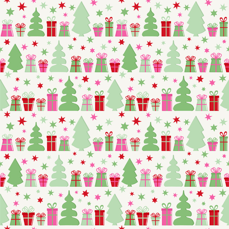 Seamless vector pattern with gift boxes, trees and stars. Christmas background.