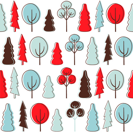 Seamless vector pattern with forest.
