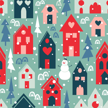 Winter city. Seamless vector pattern with houses, trees and snowman.