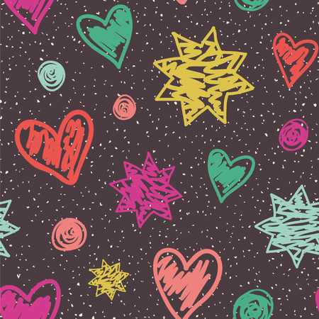 Seamless vector pattern with doodle hearts, stars and dots. Childish drawing style.