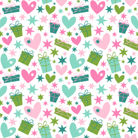 Hearts, stars and gift boxes. Seamless vector pattern.