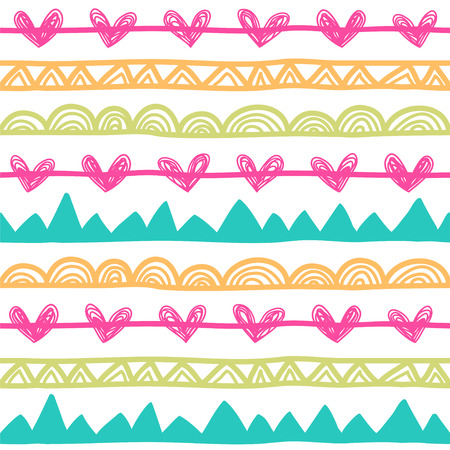 Cute background with stylized hearts, mountains, dots, zig-zag lines. Seamless vector pattern in bright colors.