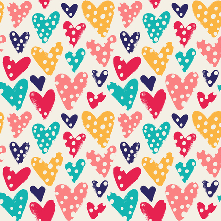 Background with hand drawn hearts and dots. Seamless vector pattern.
