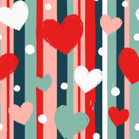 Hearts and dots on the striped background. Seamless vector pattern.