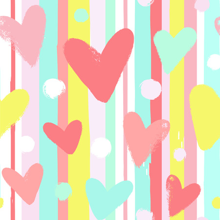 Background with stripes and hand drawn hearts. Seamless vector pattern in pastel colors.