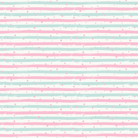 Striped pastel colors background. Seamless vector pattern with horizontal stripes and dots. Illusztráció
