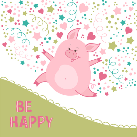 Cute illustration with a happy pig. Great for card, kids design, print, baby wear, poster, label.