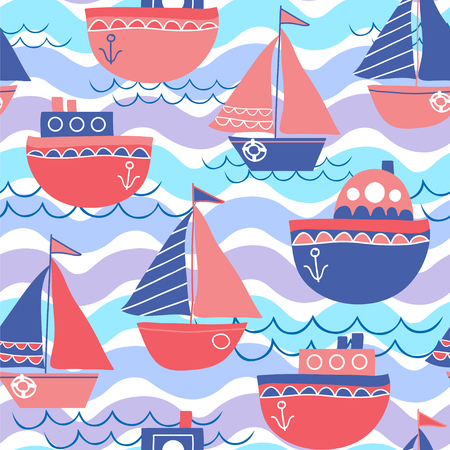 Marine vector background. Seamless pattern with sailboats and waves.