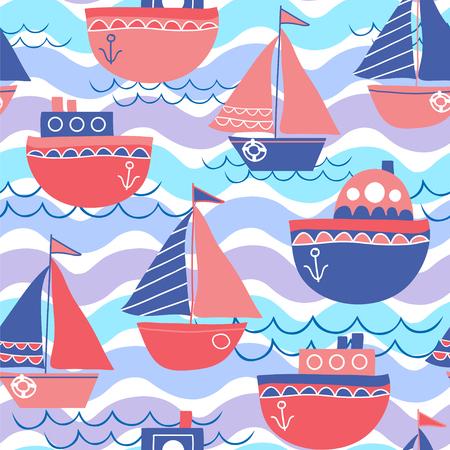 Marine-Vektor-Hintergrund. Nahtloses Muster mit Segelbooten und Wellen.
