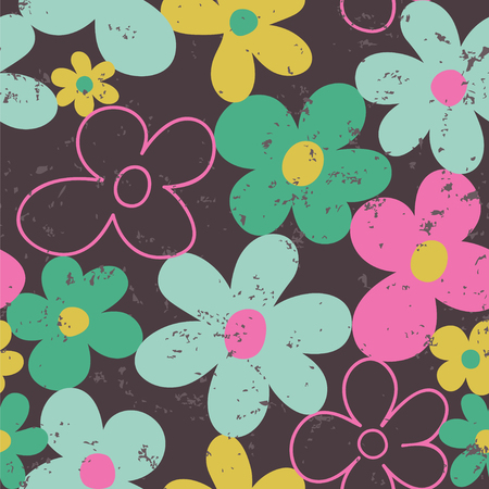 Seamless vector pattern with flowers in retro style. Great for fabric, cards, wallpaper, posters, wrapping paper, invitations.