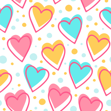 Simple seamless pattern with hearts and dots. Vector background great for nursery theme.