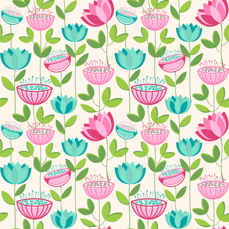 Seamless floral pattern. Vector illustration with lotus flowers.