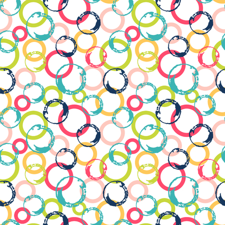 Chaotic circles in bright colors. Seamless vector pattern. Ilustração