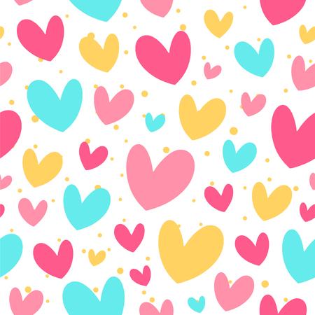 Cute colorful hearts. Vector seamless pattern. Ilustração