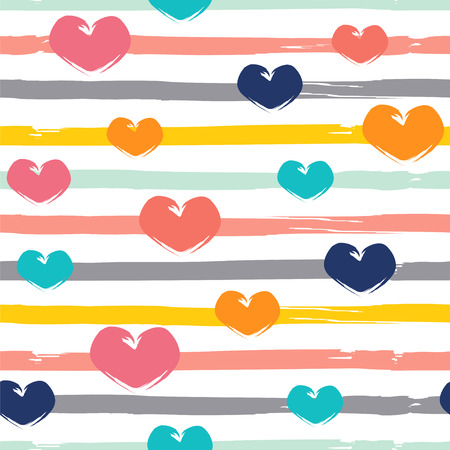 Stripes and hearts. Seamless vector pattern.