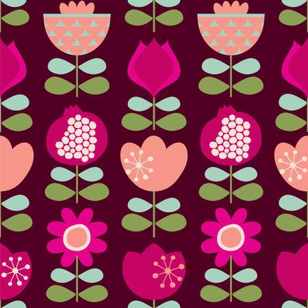 Scandinavian flowers on a dark background. Seamless pattern. Vector illustration.