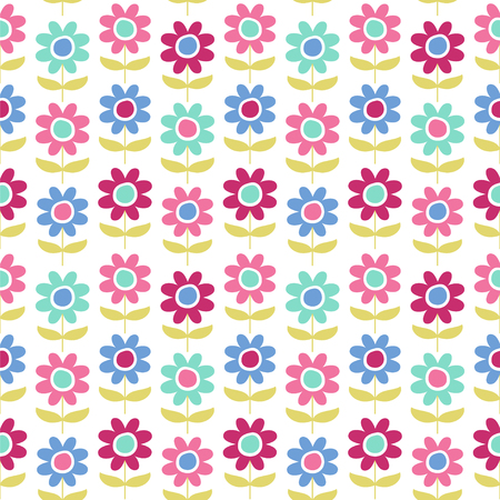 Cute flowers. Seamless vector pattern with scandinavian flowers.