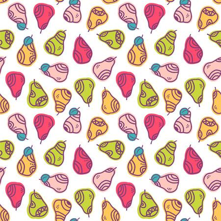 Decorative pears in cute colors. Seamless vector pattern. Ilustração