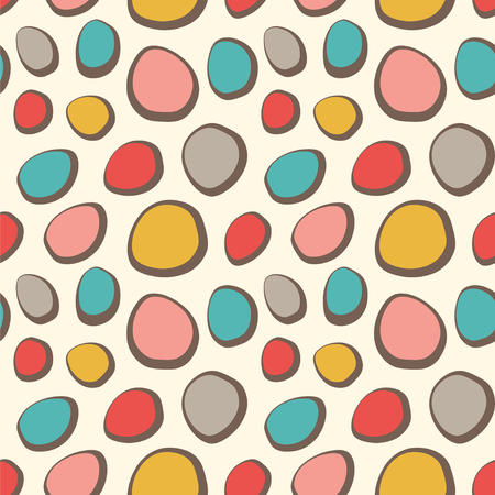 Simple seamless vector pattern with chaotic ovals in retro colors.