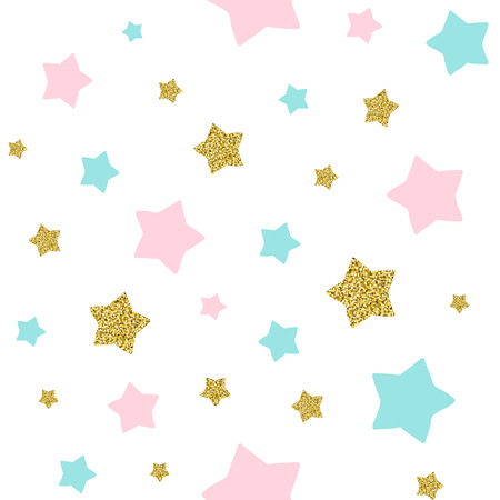 Seamless pattern with pink and blue stars on the white background. Ilustração