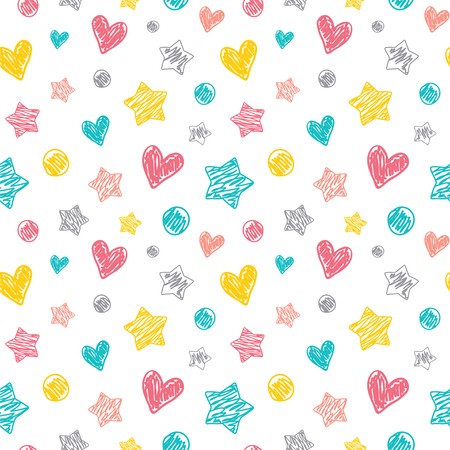 Seamless vector pattern with a doodle style dots, hearts and stars. Great for a baby theme. Ilustração