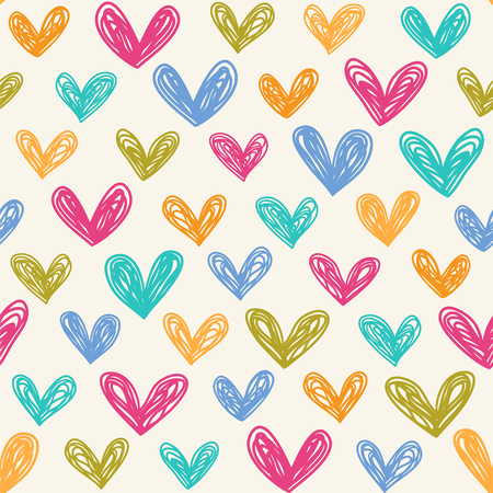 Hand drawn hearts. Seamless vector pattern with cute hearts.