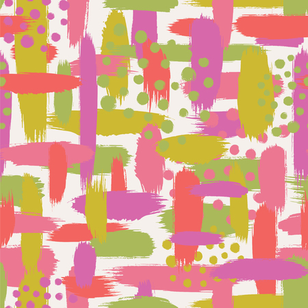 Abstract brushstrokes and dots. Seamless vector pattern. Ilustração