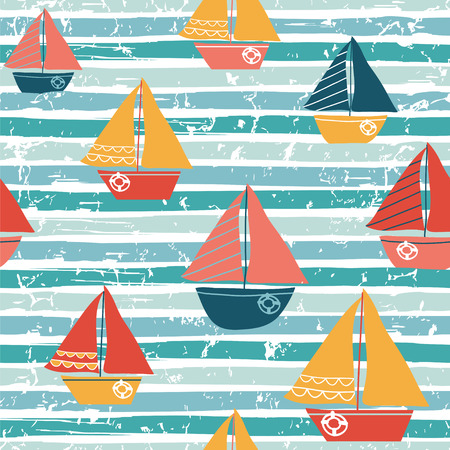 Seamless pattern with boats. Vector illustration with sailboats Ilustração
