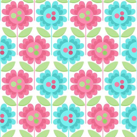 Seamless vector pattern with decorative flowers. Ilustração