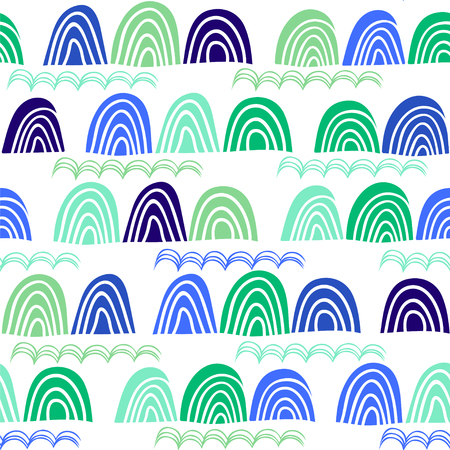 Seamless vector pattern with abstract waves and hills.