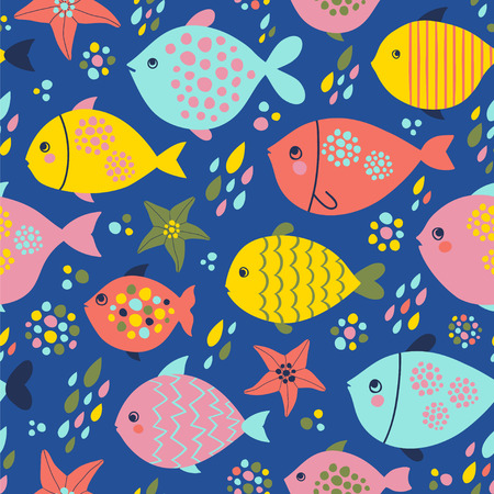 Seamless vector pattern with fishes and starfishes in bright colors.