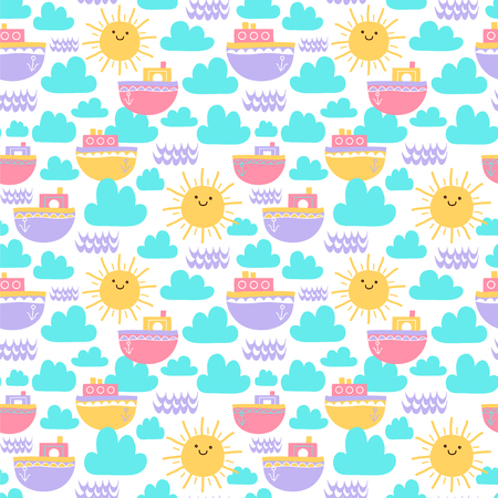 Seamless vector pattern with sun, boats, clouds and waves.
