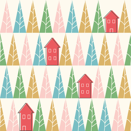 Seamless vector pattern with trees and houses. Ilustração