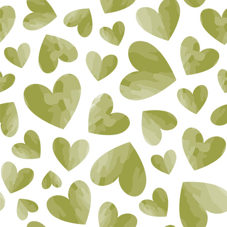 Seamless vector pattern with green hearts. Ilustração