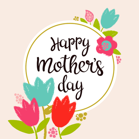 Vector floral and calligraphy template for happy mothers day. Great for greeting card, print, web page. Ilustração