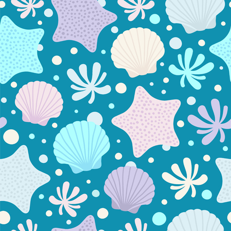 Seamless vector pattern with seashells, water plant and starfishes.