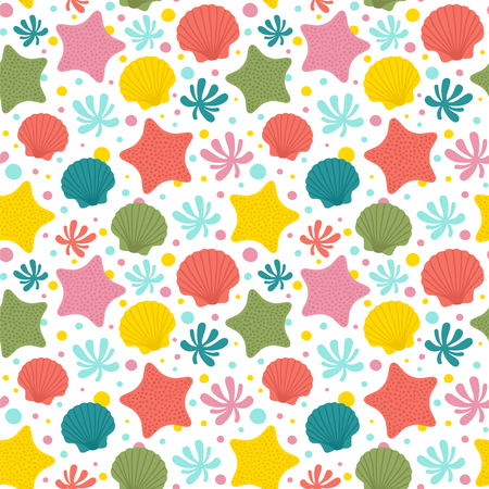 Seamless vector pattern with sea shells, starfishes and living coral.
