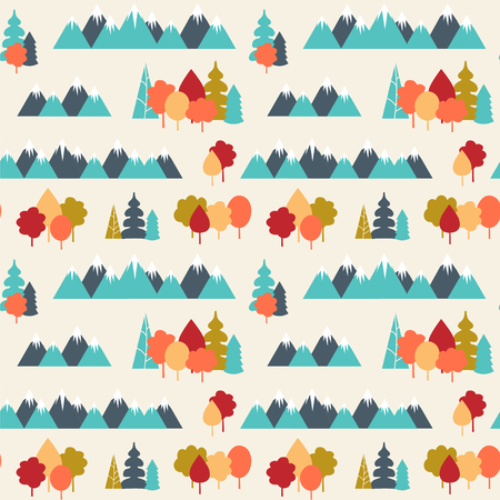 Seamless vector pattern with mountains and forest.