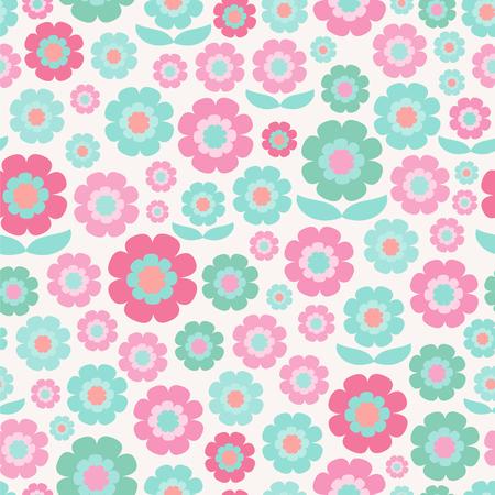 Decorative retro flowers. Seamless vector pattern. Ilustração