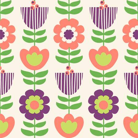 Seamless vector pattern with retro colors in retro colors.