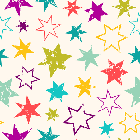 Cute seamless vector pattern with different stars.