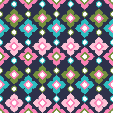 Seamless vector pattern with colorful ornament on the dark background. Ilustração